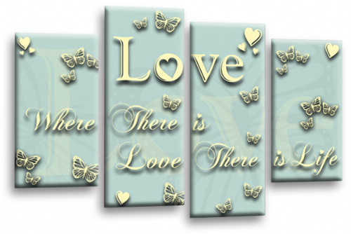 Love Quote Duck Egg Blue Cream Canvas Wall Art Picture Print